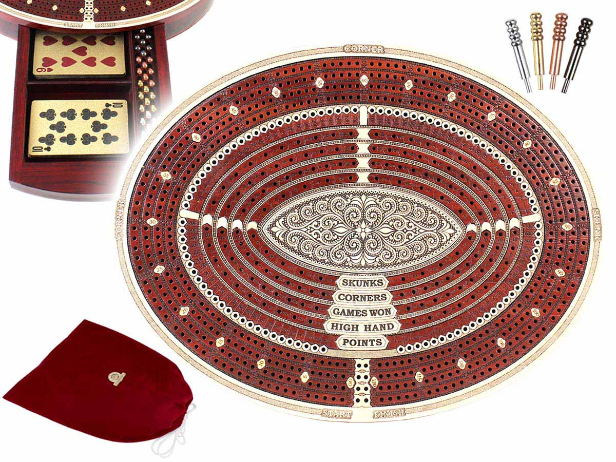 Oval Shape 4 Tracks Continuous Cribbage Board & Box in Maple / Bloodwood with Skunks, Corners, Won Games, High Hand & Points