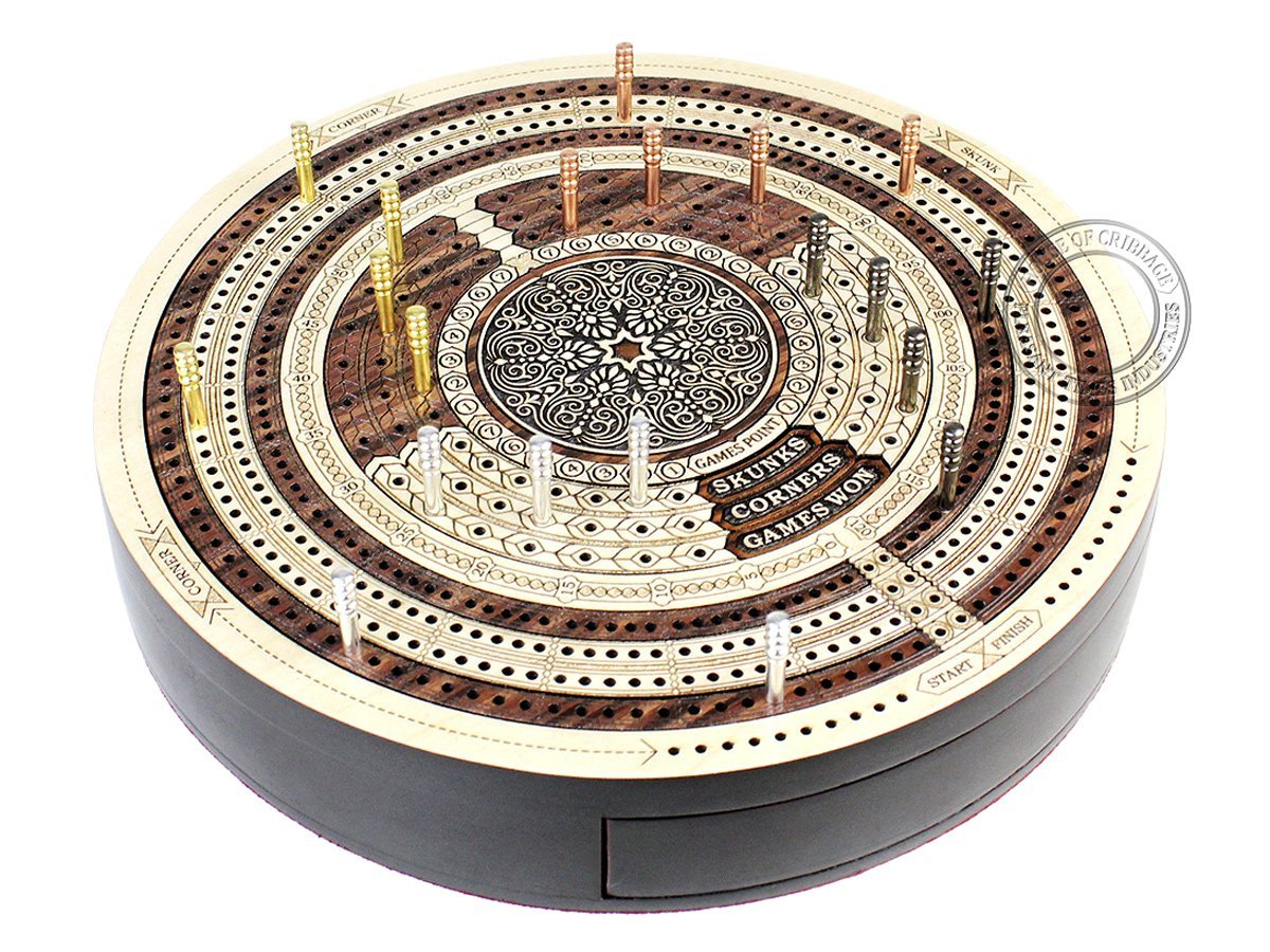 Round Shape 4 Tracks Continuous Cribbage Board Maple / Rosewood / Maple with Push Drawer & place for Skunks, Corners & Won Games