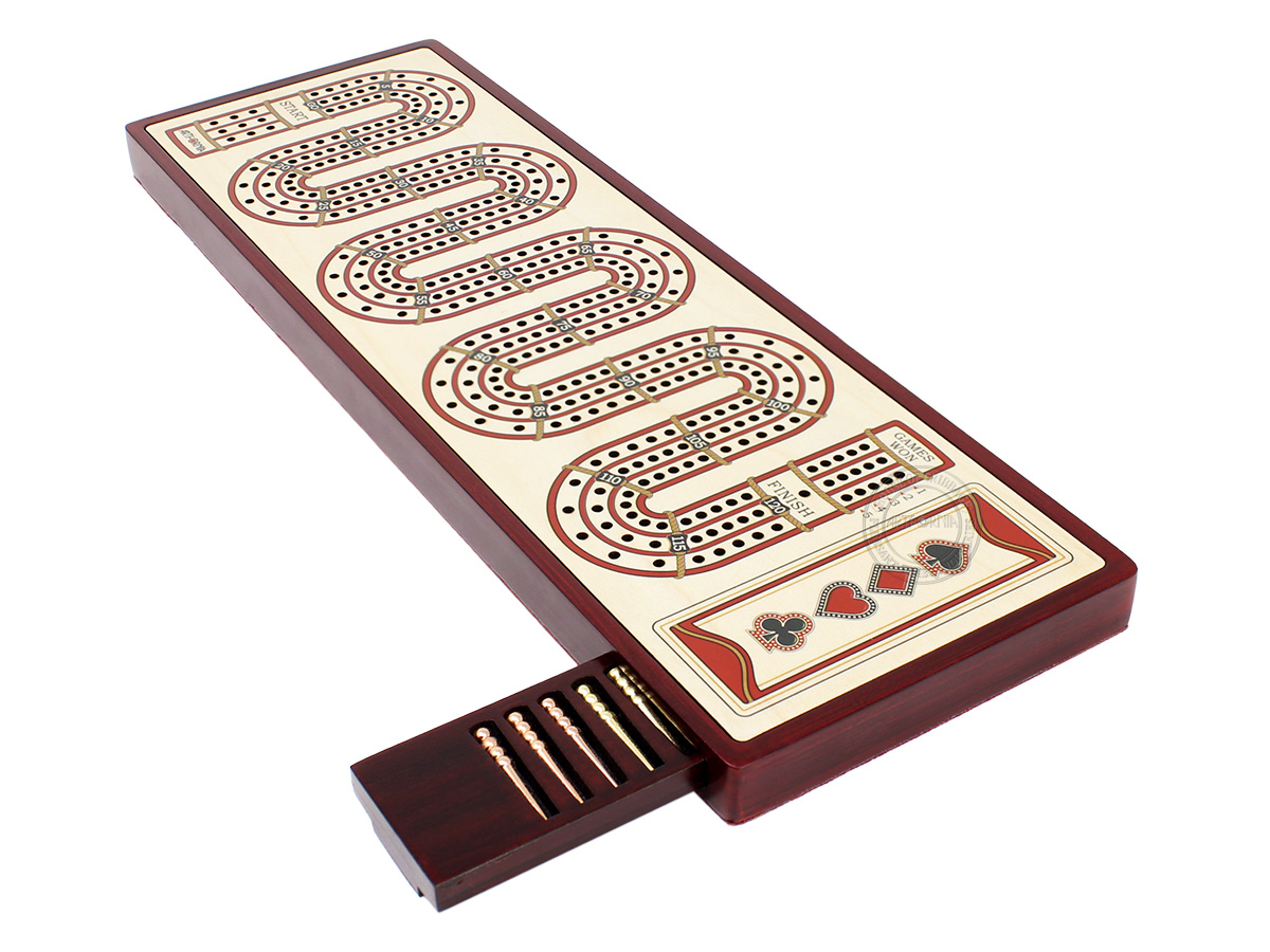 Artfornia - Continuous Cribbage Board - Zig Zag Design 3 Tracks with storage of pegs and place to mark won games