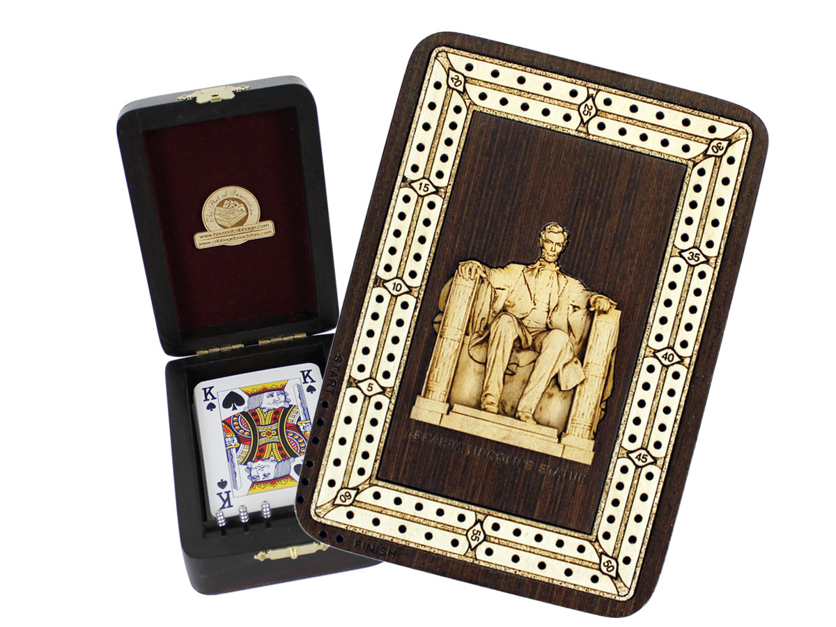 Abrahim Lincoln Statue Wood Carved Inlaid Folding Cribbage Board / Box Wenge Wood / Maple - 2 Tracks