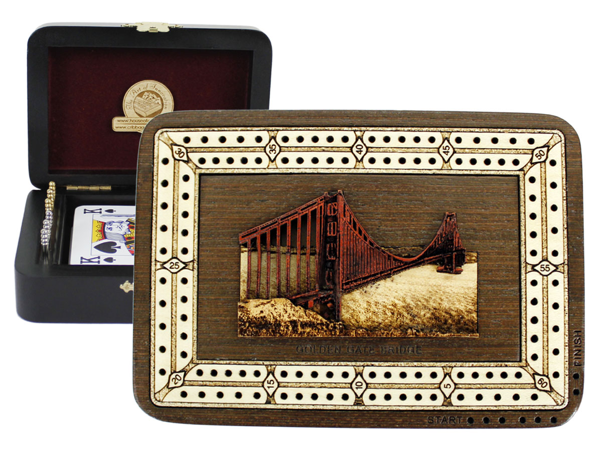Golden Gate Bridge Wood Carved Inlaid Folding Cribbage Board / Box Wenge Wood / Maple - 2 Tracks