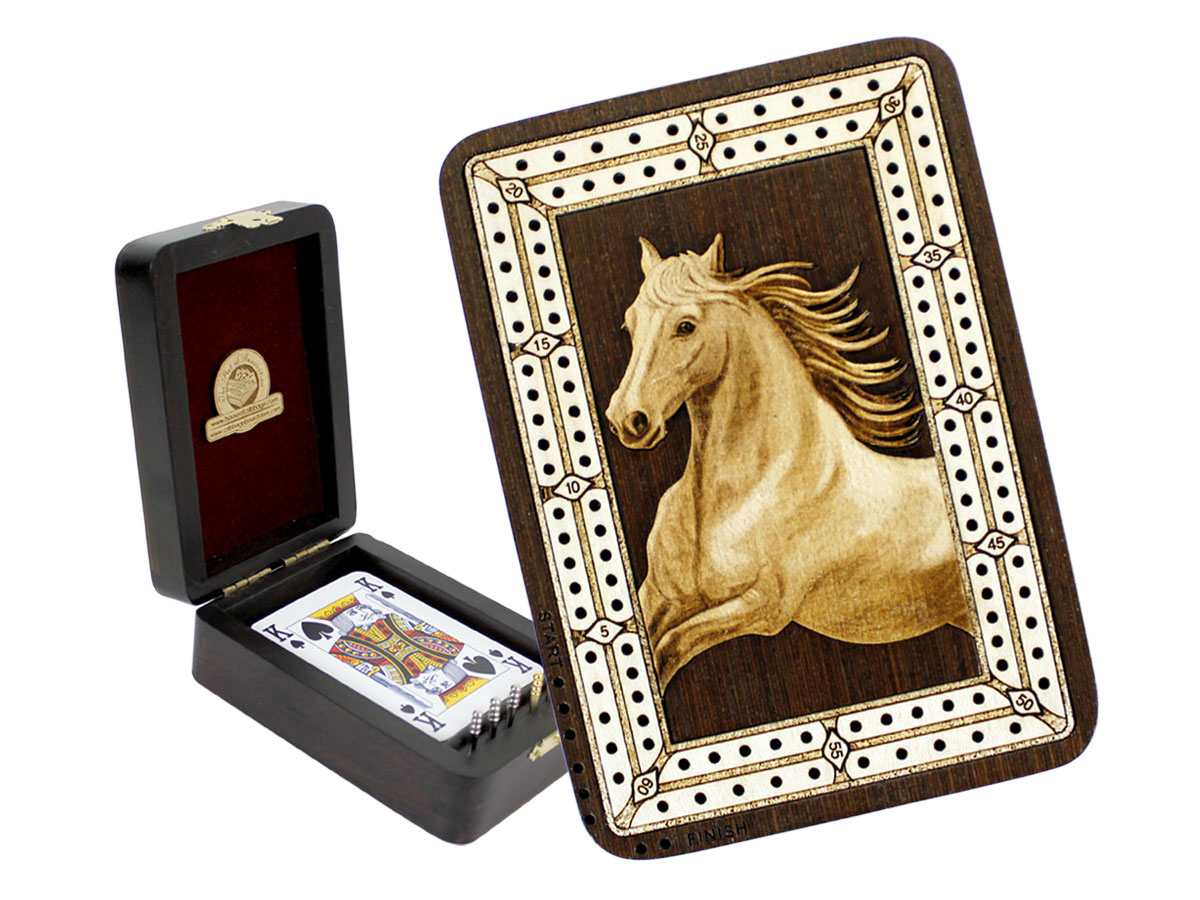 Horse Figure Wood Carved Inlaid Folding Cribbage Board / Box Wenge Wood / Maple - 2 Tracks