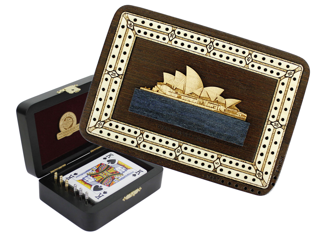 Sydney Opera House Wood Carved Inlaid Folding Cribbage Board / Box Wenge Wood / Maple - 2 Tracks