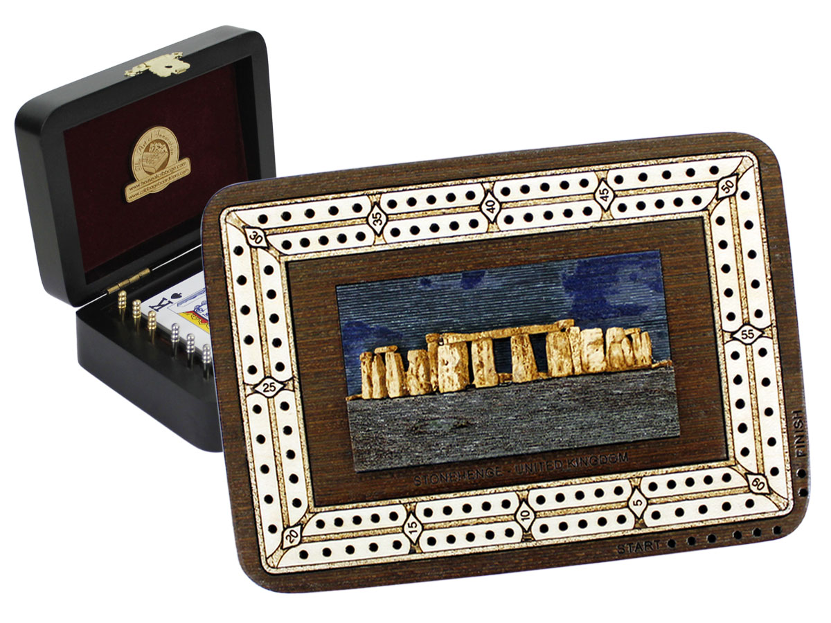 Stonehenge Wood Carved Inlaid Folding Cribbage Board / Box Wenge Wood / Maple - 2 Tracks