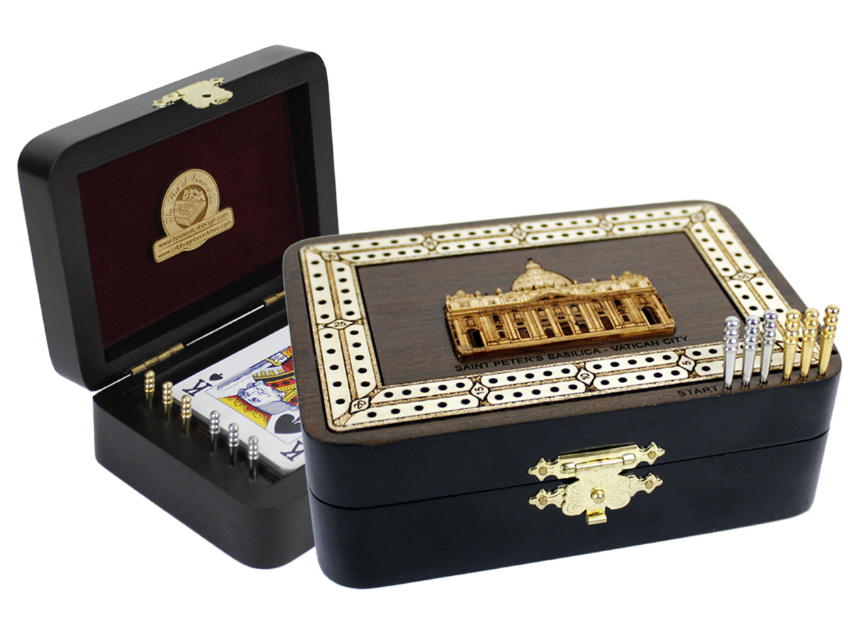 Saint Peters Basilica Wood Carved Inlaid Folding Cribbage Board / Box Wenge Wood / Maple - 2 Tracks